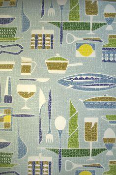 Kitchen wallpaper mid century