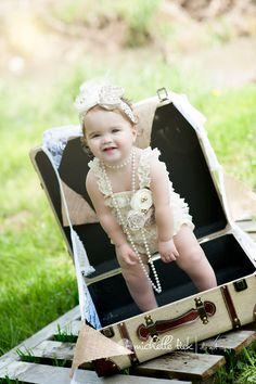 3 Pcs SALE Petti Lace Romper Cream/Ivory Vintage -1st Birthday-Photo Shoot-Cake Smash-Wedding-Dedication-Baptism-Flower Girl-Pageant Wear