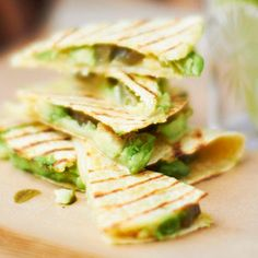 Spice up these #avocado #quesadillas by adding #jalapeno slices.