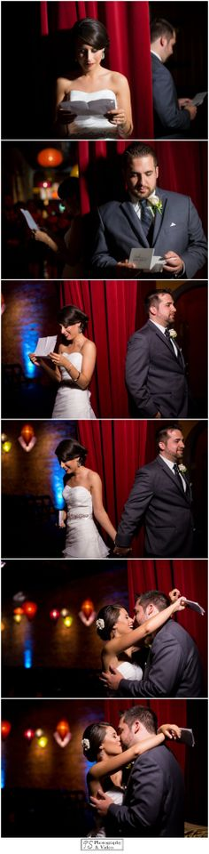 Right before the first look on their wedding day at the Georgetown Ballroom, the bride and groom exchanged letters to each other. They read the letters and held hands before they saw each other. Photo Credit: PS Photography  Video