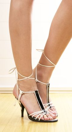 Chanel Black and White Strappy Heels