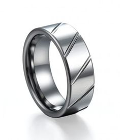 Concise Diagonal Groove Tungsten Ring