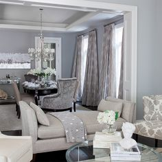 Jennifer Brouwer Design: Contemporary blue and gray dining room with blue gray wall color and white coffered ...
