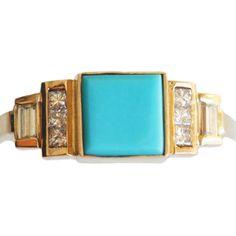 Mociun Square Turquoise Ring