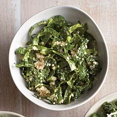 Tahini-Lemon Kale Salad | CookingLight.com #myplate, #veggies, #wholegrain, #protein