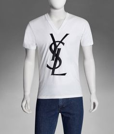 Brand logo t shirts on pinterest for Ysl logo tee shirt