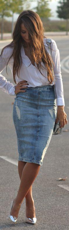 High-waisted Jean skirt. LOVE IT!!