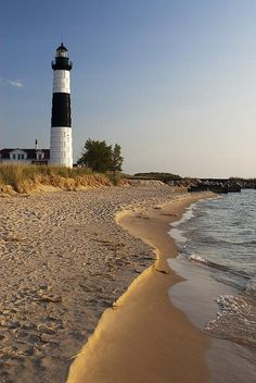 Big Sable Point Lighthouse on Lake Michigan. Located in Ludington State Park, north of Ludington, Michigan.