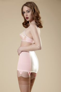 Pin-Up Girdle Garter Skirt Cotton Candy Pink Vintage Style Made to Order. $130.00, via Etsy.