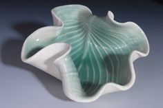 Decorative Ceramic Plate in Green  Hosta Leaf by WhiteEarthStudio.etsy.com  Nancy Monsebroten   $30.00
