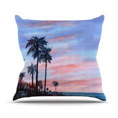 """Rosie Brown """"Florida Sunset"""" Palm Tree Throw Pillow   KESS InHouse   #pillow #throwpillow #homedecor #beach #Florida #sunset #palms #kessinhouse"""