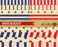 Digital Paper Pack AMERICAN BEAUTY 4th of JULY by AllFullOfLove, $4.95