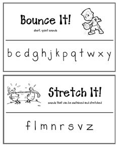 Bounce It! and Stretch It! Posters for letter sounds