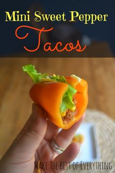 Mini Sweet Pepper Tacos. Awesome idea. Ground turkey, lettuce, lowfat cheese, tomato.....Could even throw them in the oven.