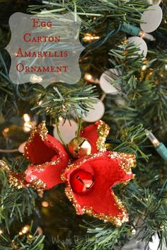 Egg carton ornaments, handmade Christmas ornament, holiday amaryllis ornament -Whats Ur Home Story