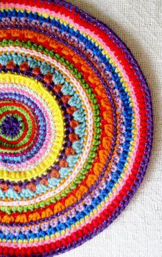 Fiber Art OOAK Crochet Mandala Pattern Design for Home Decoration Wall Hanging Place Mat Doily