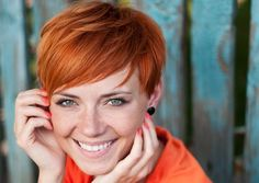 red pixie short hair style