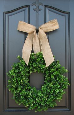 Burlap  Boxwood Wreath