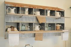 Using Industrial Items as Unique Decor - rustic - dining room - other metro - Buckets of Burlap. An old nesting box used for storage.