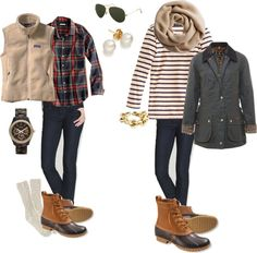 How to Wear: Bean Boots... But I don't wear those & I like the outfits, except for the jacket on the right.