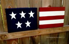 Cute American flag canvas paint idea for wall decor. Canvas painting. Wall art. Simple. Multiple canvas. 4th of July.
