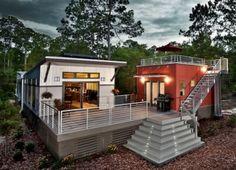 Small modern prefab net-zero homes: no utility bills; solar powered.