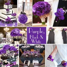 Purple, Black and White Wedding Colors - For lovers of purple, the combination of Purple with Black and White is sophisticated and striking. It works especially well for fall and winter weddings.