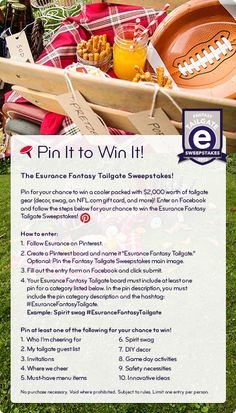 Enter for your chance to win a cooler packed with $2,000 worth of tailgate gear! Enter on Facebook and follow the steps in this pin for your chance to win the Esurance Fantasy Tailgate Sweepstakes!  #EsuranceFantasyTailgate