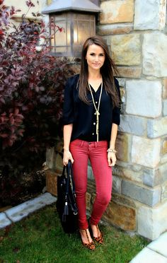 Kiss Me Darling: Fall wardrobe staples / Bohme Discount Fall outfit, colored denim, leopard heels, tassel necklace