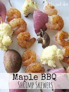 Tasty grilling recipe for summer -Maple BBQ Shrimp Skewers! theblueeyeddove.com