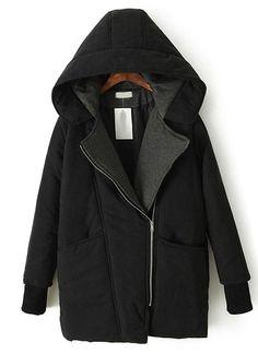 black hood, cotton, fashion, obliqu zipper, cloth, long sleev, hood long, coats, parka