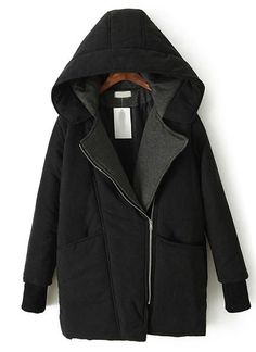 Black Hooded Long Sleeve Oblique Zipper Parka