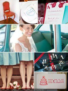 5. Color Theme Aqua & Red #modcloth #wedding