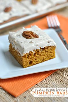 Delicious, moist Pumpkin Bars topped with a sweet Butter Pecan frosting! The only pumpkin dessert recipe you need! #thinkfisher