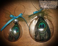 "Quick Peacock Ornaments made with my daughter who swears this year is the ""Year of the Peacock"" PIN NOW for more ornament ideas on this blog. #Peacock #Ornament #Christmas"