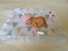 Newborn Baby Girl...Polymer Clay Miniature by pattispeanuts, $22.00