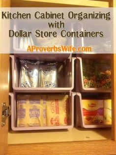 Organized Homemaking : Kitchen Cabinet Organzing with Containers