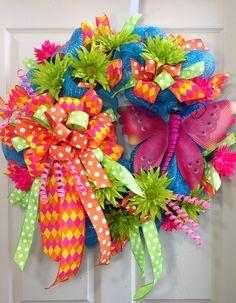 Spring /Summer Mesh Wreath on Etsy, $105.00