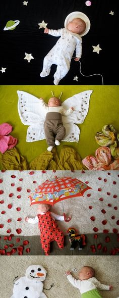LOVE this idea, instead of posing babies in strange poses or editing out a hand later.I wonder if I can do this with Baby Girl...