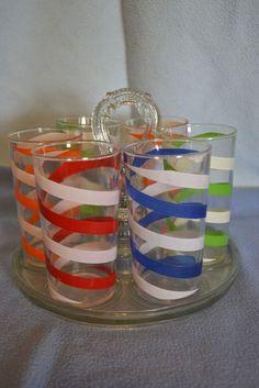 Swanky Swig Spiral Striped Juice Glasses