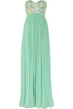 Rachel Gilbert Sonya Sequined-Bodice Silk-Crepe Gown.