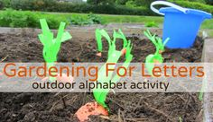 Gardening for Letters- put letters on pool noodle sections with a sharpie, and kiddo can pull ribbon to get carrot with letter out. So cute- can modify for sensory table  indoors. Note to self- Could do a cute gardening theme. Pick green beans, tomatoes, corn, pull lettuce. Place Upper case letters on carrots, lower case on something else, movement activity on another vegetable. hmm...