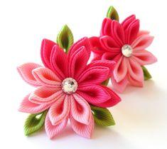 Kanzashi fabric flowers Set of 2 ponytails  Pink shocking by JuLVa, $10.00