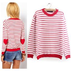 Everyday Stripped Heart Patch Sweater for Women - Sweaters