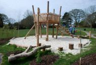 Tons of natural wood play space ideas on this site!