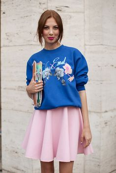 A flippy skirt is always a safe choice to combine with your statement sweat.
