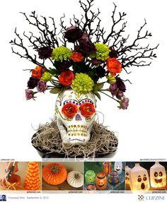 #Halloween C#rafts #Ideas #Skull #flowers #fall #vase