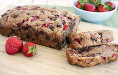 Chocolate Chip Strawberry Bread, just made this as muffins, substituted 1/2 cup raw honey for the sugar and 1/2 coconut oil for the vegetable oil, it was delicious. Could also use frozen strawberries instead of fresh