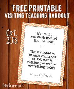 Free Visiting Teaching Printable October 2013