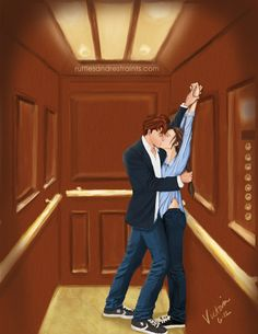 Like most of the planet, I read the Fifty Shades of Grey trilogy. For fun, I decided to do some illustrations! Here's the first: Christian Grey and Ana Steele in the Heathman elevator.